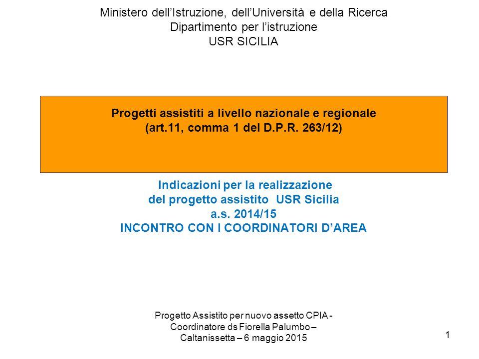 Progetto Assistito per nuovo assetto CPIA - Coordinatore ds Fiorella Palumbo – Ag 6 maggio 2015 2 PROGETTO ASSISTITO A LIVELLO REGIONALE USR SICILIA CENTRI PER L'ISTRUZIONE DEGLI ADULTI DATAATTIVITA'PROPONENTESOGGETTI COINVOLTI STADIO DI AVANZAMENTO Entro il 15 dicembre 2014 Incontro interprovinciale dei dirigenti scolastici delle scuole capofila Coordinatore del progetto assistitoI dirigenti scolastici di tutte le scuole componenti di rete REALIZZATO Entro il 15 gennaio 2015 Insediamento del Consiglio della Rete Sottoscrizione accordo di rete tra scuole Ds scuola capofila I dirigenti scolastici di tutte le scuole componenti di rete REALIZZATO Entro il 27 gennaio 2015 Insediamento del Collegio della reteDs scuola capofila I docenti in servizio presso CTP e corsi carcerari delle scuole componenti di rete REALIZZATO Entro il 12 febbraio 2015 Costituzione e avvio dei lavori dei tavoli tecnici per individuazione e assegnazione delle attività da svolgere e dei coordinatori d'area Ds scuola capofila I dirigenti scolastici e i docenti in servizio presso CTP e corsi carcerari delle scuole componenti di rete REALIZZATO 12 marzo 2015 I Incontro interprovinciale dei coordinatori d'areaCoordinatore del progetto assistito I docenti coordinatori d'area individuati per ogni tavolo e per ogni rete provinciale REALIZZATO 12 marzo 2015 Incontro interprovinciale dei dirigenti scolastici delle scuole capofila Coordinatore del progetto assistitoI dirigenti scolastici di tutte le scuole componenti di rete REALIZZATO Entro il 27 febbraio 2015 Avvio dei lavori dei tavoli tecniciDs scuola capofila I docenti in servizio presso CTP e corsi carcerari delle scuole componenti di rete REALIZZATO 6 maggio 2015 II Incontro interprovinciale dei coordinatori d'areaCoordinatore del progetto assistito I docenti coordinatori d'area individuati per ogni tavolo e per ogni rete provinciale REALIZZATO Entro il 30 maggio 2015 Conclusione dei lavori dei tavoli tecniciDs scuola capofila I docenti in servizio p