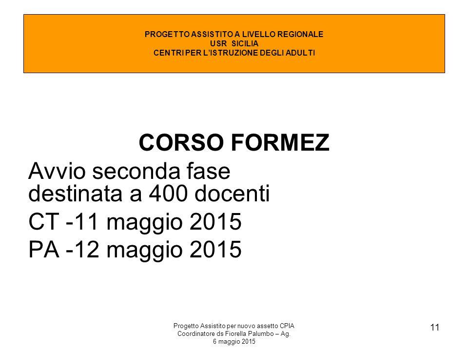 Progetto Assistito per nuovo assetto CPIA Coordinatore ds Fiorella Palumbo – Ag. 6 maggio 2015 11 CORSO FORMEZ Avvio seconda fase destinata a 400 doce