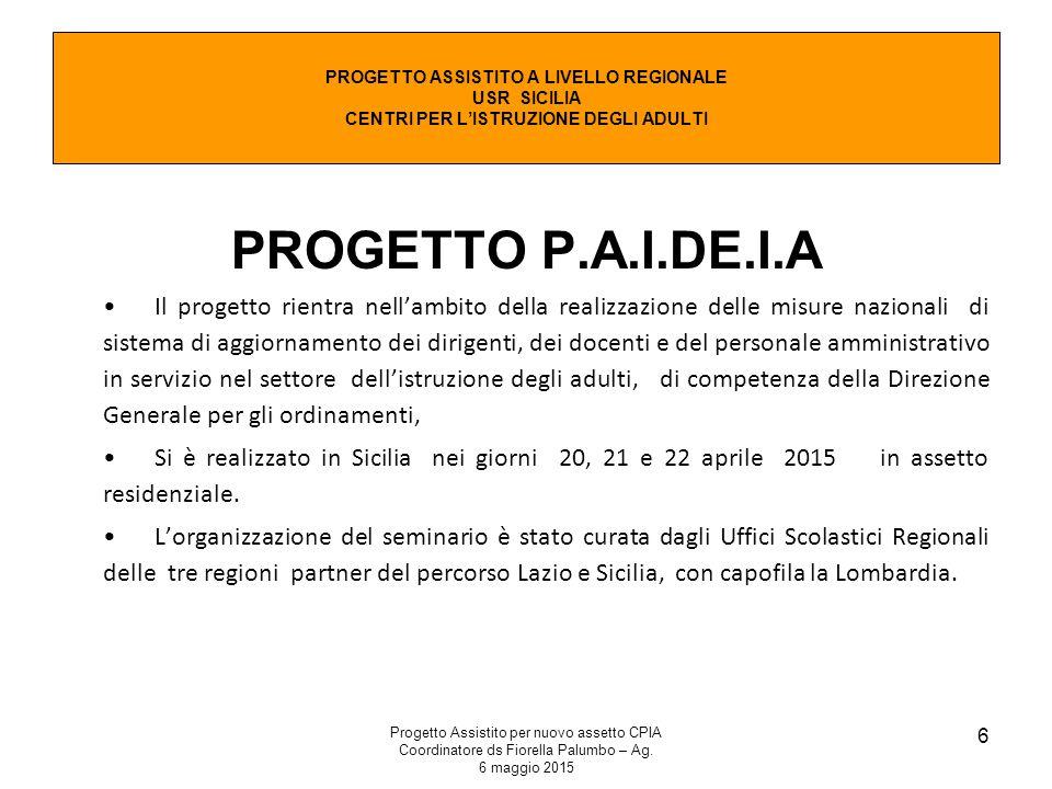 Progetto Assistito per nuovo assetto CPIA Coordinatore ds Fiorella Palumbo – Ag. 6 maggio 2015 6 PROGETTO P.A.I.DE.I.A Il progetto rientra nell'ambito