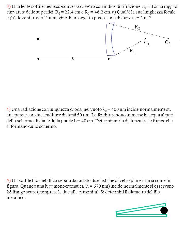 3) Una lente sottile menisco-convessa di vetro con indice di rifrazione n 1 = 1.5 ha raggi di curvatura delle superfici R 1 = 22.4 cm e R 2 = 46.2 cm.