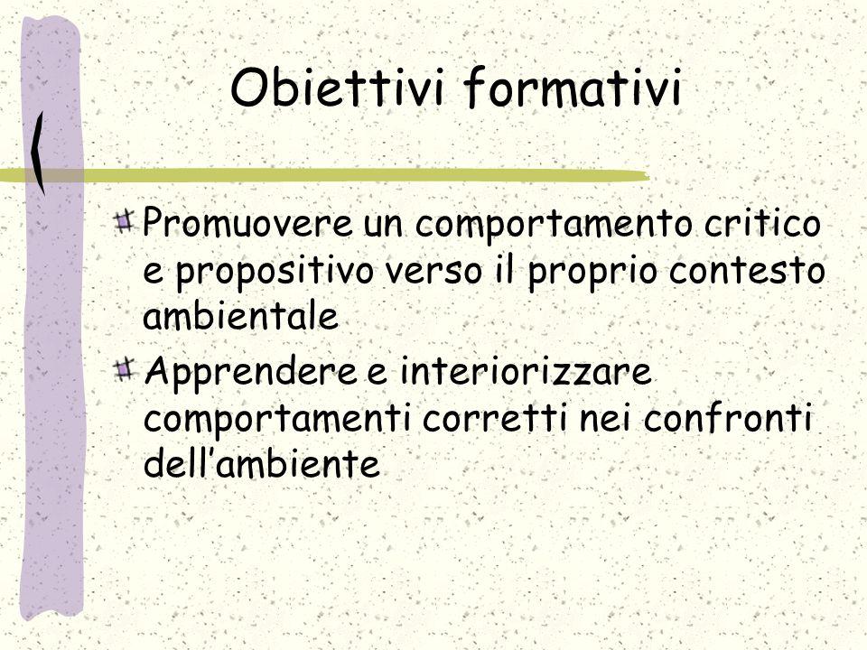 Obiettivi formativi Promuovere un comportamento critico e propositivo verso il proprio contesto ambientale Apprendere e interiorizzare comportamenti c