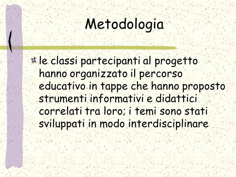 Metodologia le classi partecipanti al progetto hanno organizzato il percorso educativo in tappe che hanno proposto strumenti informativi e didattici correlati tra loro; i temi sono stati sviluppati in modo interdisciplinare