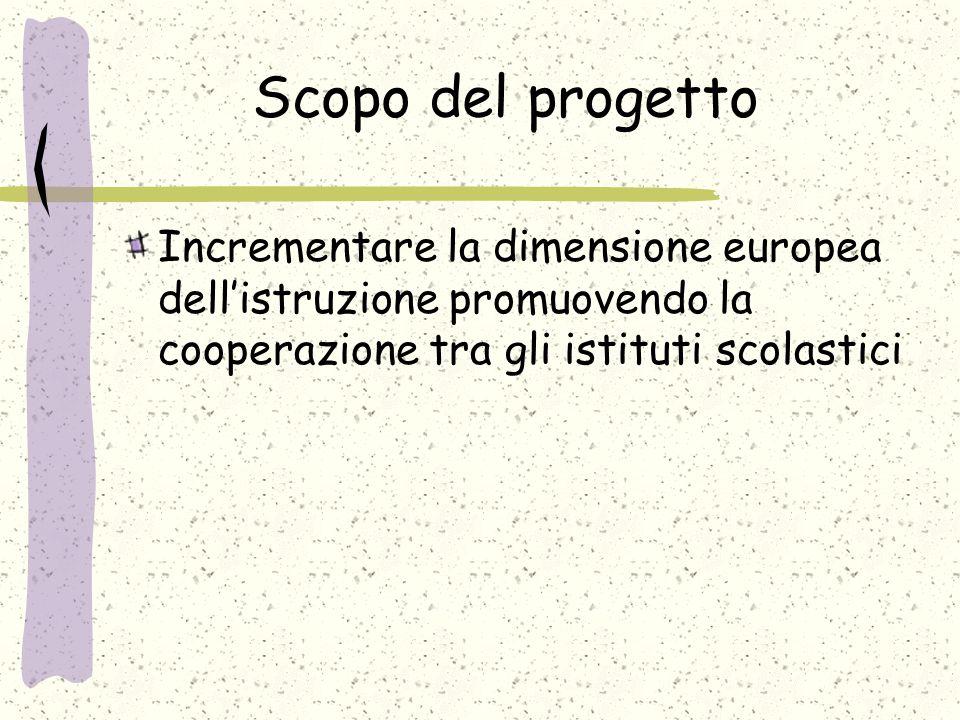 Scopo del progetto Incrementare la dimensione europea dell'istruzione promuovendo la cooperazione tra gli istituti scolastici