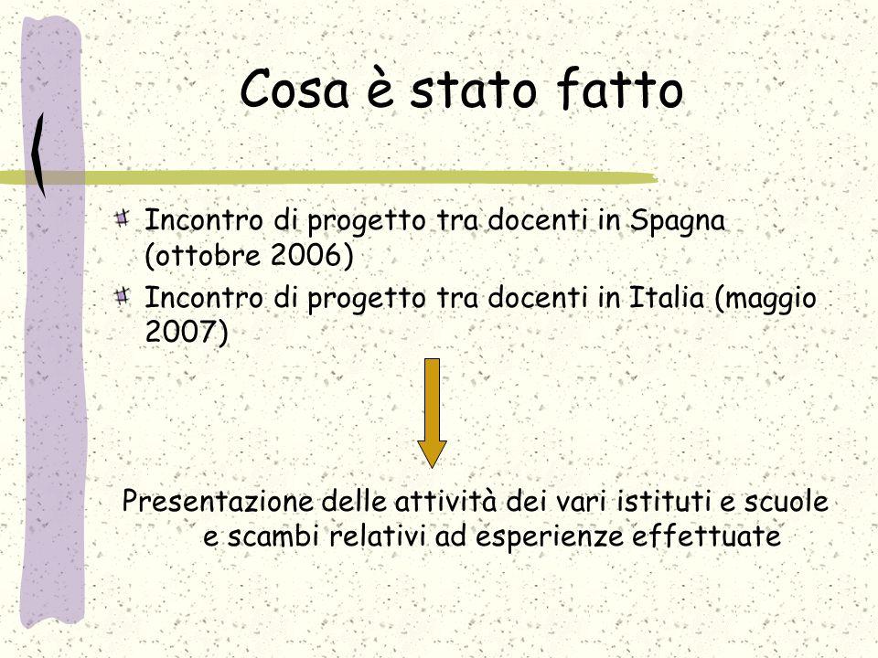 Cosa è stato fatto Incontro di progetto tra docenti in Spagna (ottobre 2006) Incontro di progetto tra docenti in Italia (maggio 2007) Presentazione delle attività dei vari istituti e scuole e scambi relativi ad esperienze effettuate