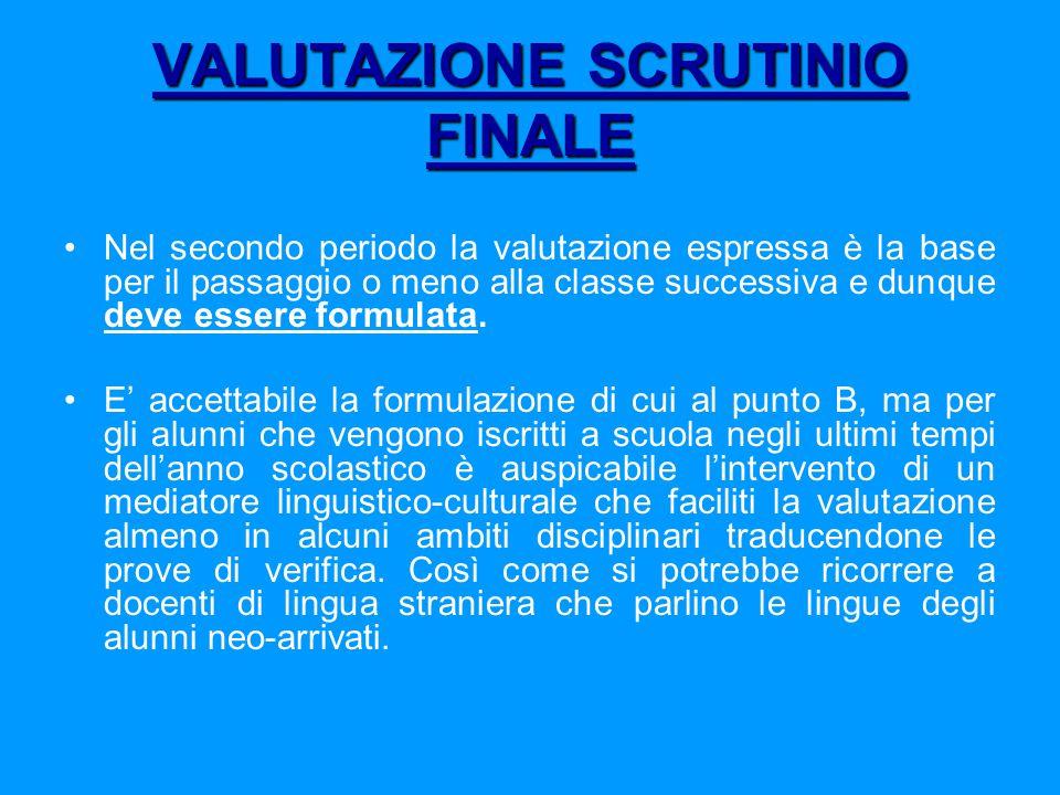 VALUTAZIONE SCRUTINIO FINALE Nel secondo periodo la valutazione espressa è la base per il passaggio o meno alla classe successiva e dunque deve essere formulata.