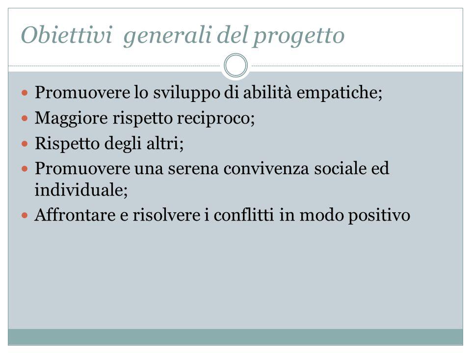 Obiettivi generali del progetto Promuovere lo sviluppo di abilità empatiche; Maggiore rispetto reciproco; Rispetto degli altri; Promuovere una serena convivenza sociale ed individuale; Affrontare e risolvere i conflitti in modo positivo