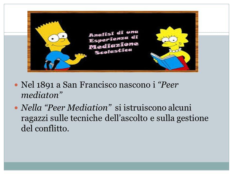 Nel 1891 a San Francisco nascono i Peer mediaton Nella Peer Mediation si istruiscono alcuni ragazzi sulle tecniche dell'ascolto e sulla gestione del conflitto.
