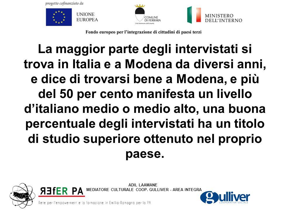 La maggior parte degli intervistati si trova in Italia e a Modena da diversi anni, e dice di trovarsi bene a Modena, e più del 50 per cento manifesta un livello d'italiano medio o medio alto, una buona percentuale degli intervistati ha un titolo di studio superiore ottenuto nel proprio paese.