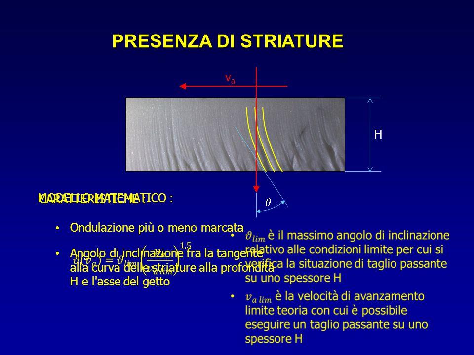 PRESENZA DI STRIATURE vava Ondulazione più o meno marcata CARATTERISTICHE : Angolo di inclinazione fra la tangente alla curva delle striature alla pro