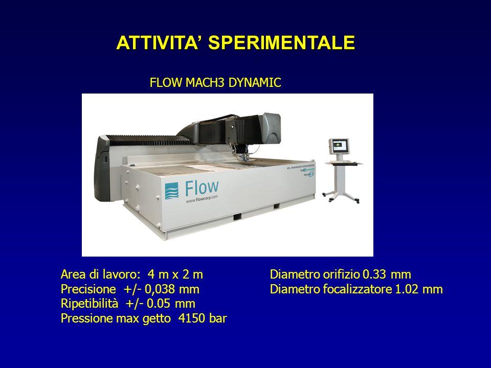 ATTIVITA' SPERIMENTALE FLOW MACH3 DYNAMIC Area di lavoro: 4 m x 2 m Precisione +/- 0,038 mm Ripetibilità +/- 0.05 mm Pressione max getto 4150 bar Diam