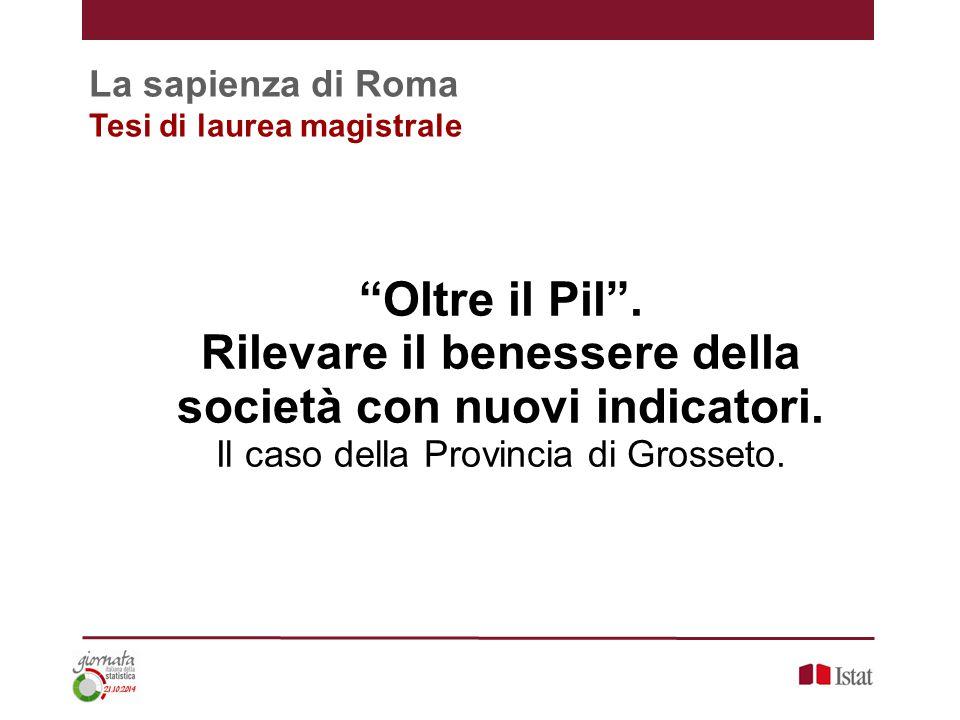 La sapienza di Roma Tesi di laurea magistrale Oltre il Pil .