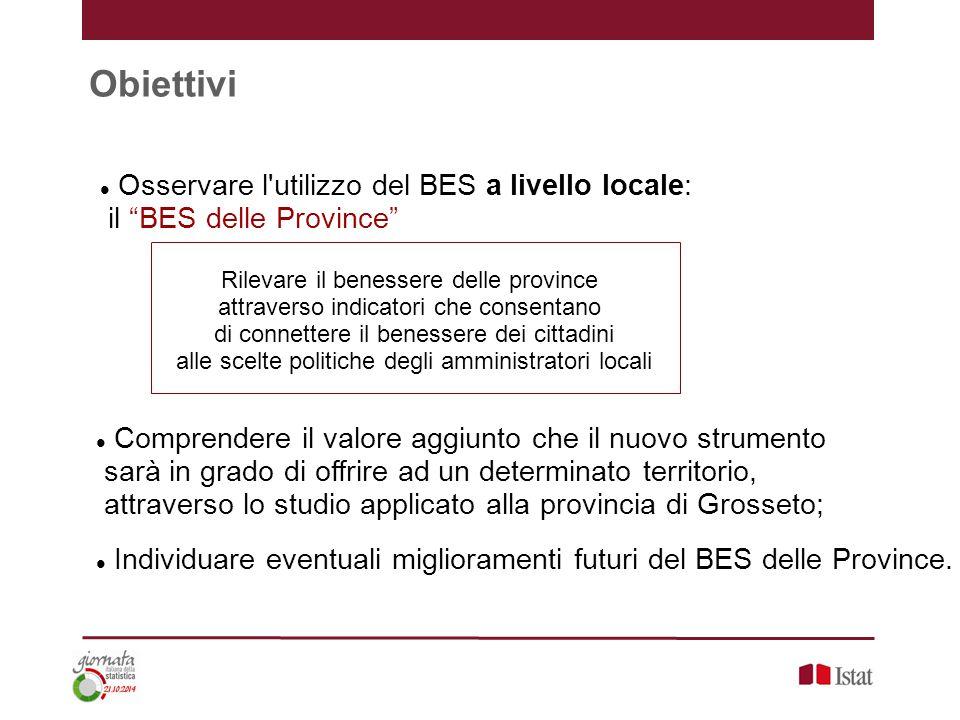 """Obiettivi Osservare l'utilizzo del BES a livello locale: il """"BES delle Province"""" Comprendere il valore aggiunto che il nuovo strumento sarà in grado d"""