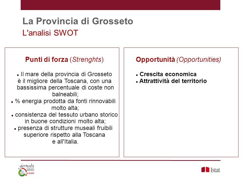 La Provincia di Grosseto L'analisi SWOT Punti di forza (Strenghts) Il mare della provincia di Grosseto è il migliore della Toscana, con una bassissima
