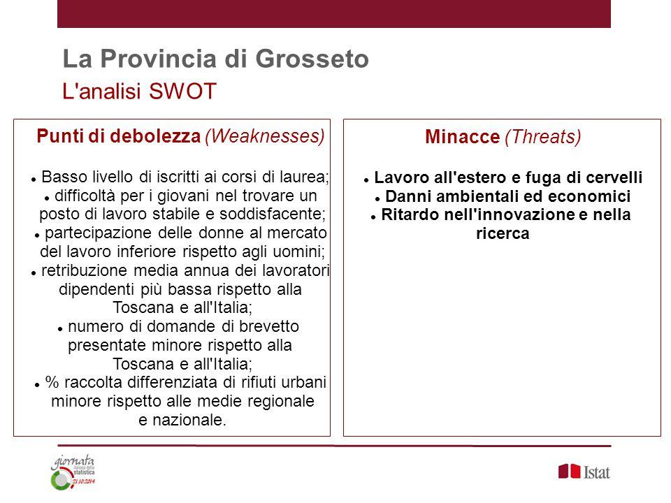 La Provincia di Grosseto L'analisi SWOT Punti di debolezza (Weaknesses) Basso livello di iscritti ai corsi di laurea; difficoltà per i giovani nel tro