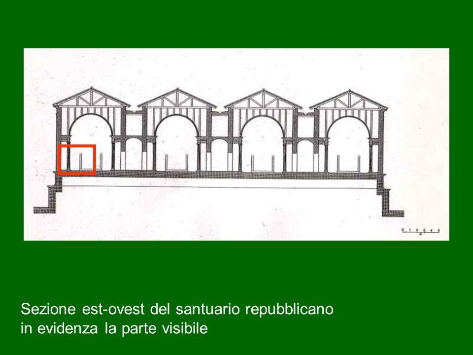 Sezione est-ovest del santuario repubblicano in evidenza la parte visibile