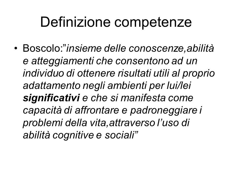 """Definizione competenze Boscolo:""""insieme delle conoscenze,abilità e atteggiamenti che consentono ad un individuo di ottenere risultati utili al proprio"""