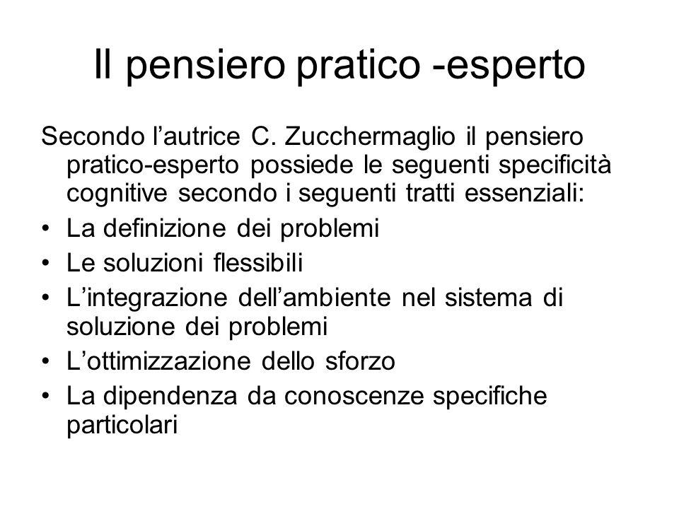 Il pensiero pratico -esperto Secondo l'autrice C. Zucchermaglio il pensiero pratico-esperto possiede le seguenti specificità cognitive secondo i segue