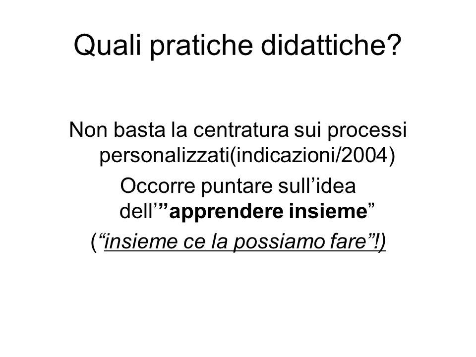 """Quali pratiche didattiche? Non basta la centratura sui processi personalizzati(indicazioni/2004) Occorre puntare sull'idea dell'""""apprendere insieme"""" ("""