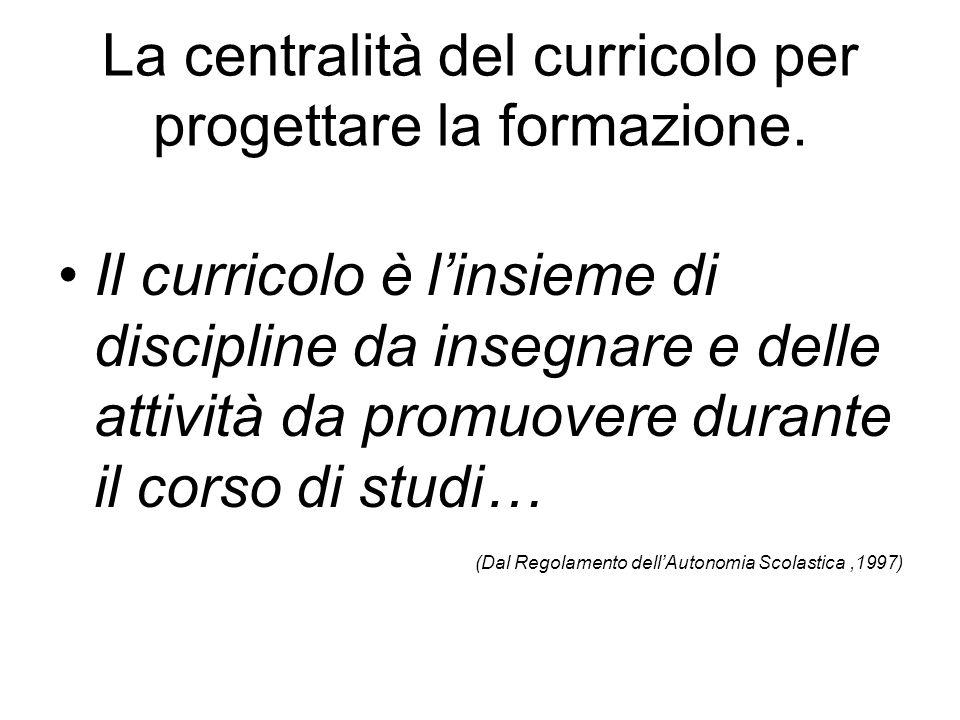 La centralità del curricolo per progettare la formazione. Il curricolo è l'insieme di discipline da insegnare e delle attività da promuovere durante i