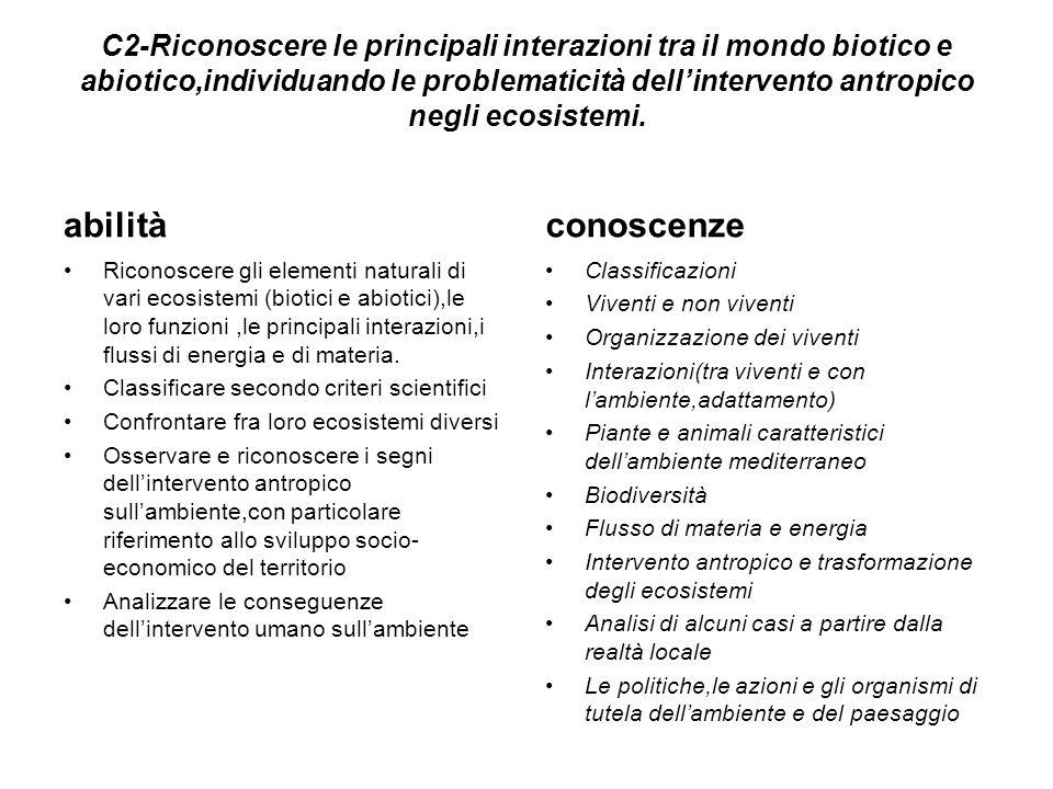 C2-Riconoscere le principali interazioni tra il mondo biotico e abiotico,individuando le problematicità dell'intervento antropico negli ecosistemi. ab