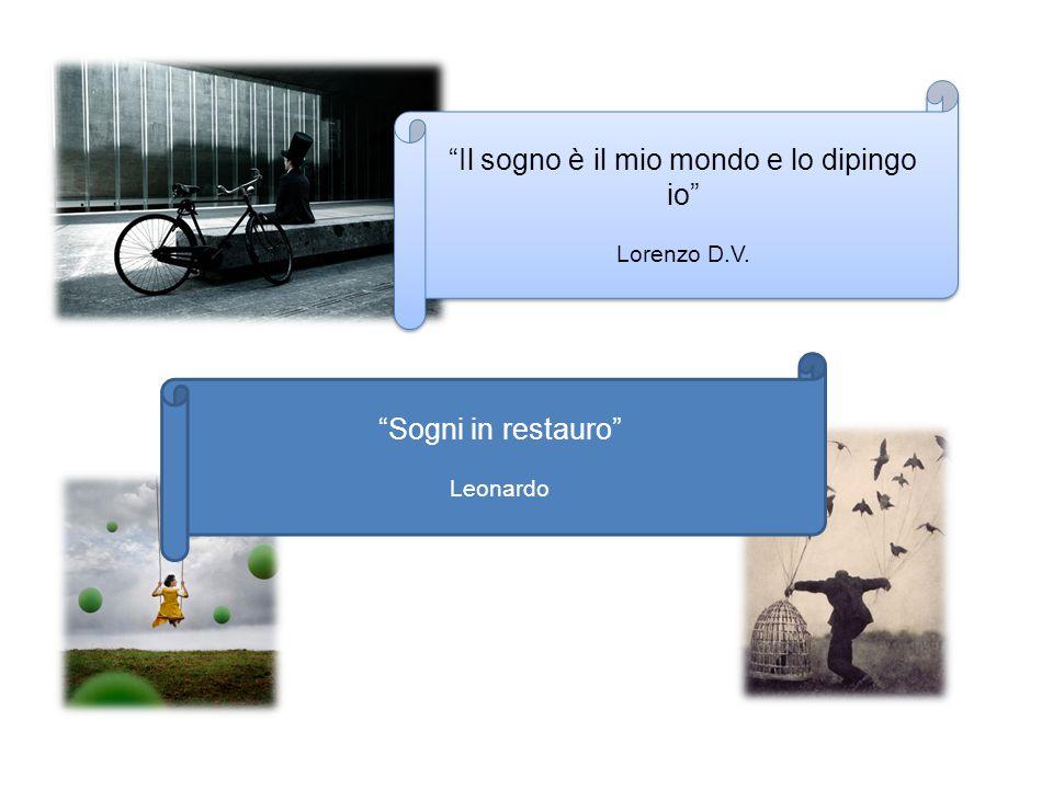 """""""Il sogno è il mio mondo e lo dipingo io"""" Lorenzo D.V. """"Il sogno è il mio mondo e lo dipingo io"""" Lorenzo D.V. """"Sogni in restauro"""" Leonardo"""