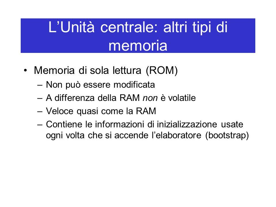 L'Unità centrale: altri tipi di memoria Memoria di sola lettura (ROM) –Non può essere modificata –A differenza della RAM non è volatile –Veloce quasi