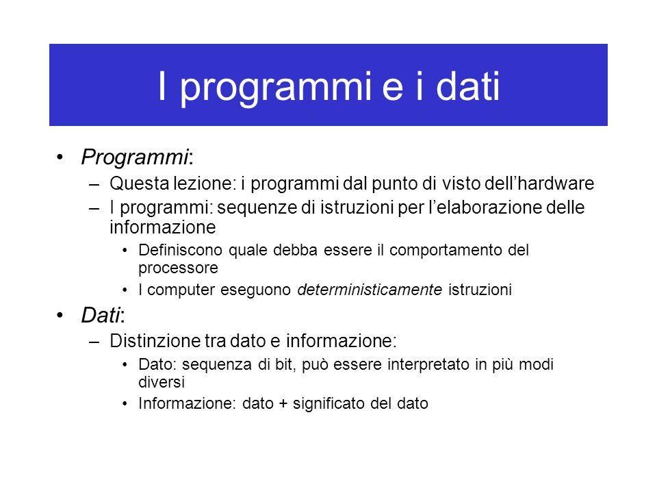 I programmi e i dati Programmi: –Questa lezione: i programmi dal punto di visto dell'hardware –I programmi: sequenze di istruzioni per l'elaborazione