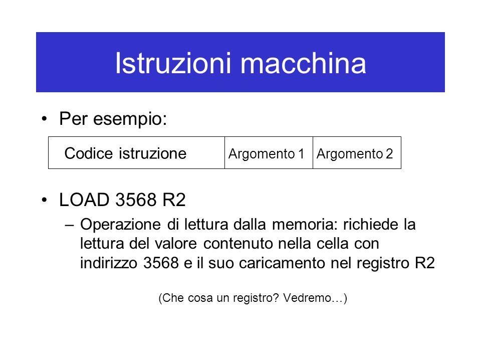 Istruzioni macchina Per esempio: LOAD 3568 R2 –Operazione di lettura dalla memoria: richiede la lettura del valore contenuto nella cella con indirizzo