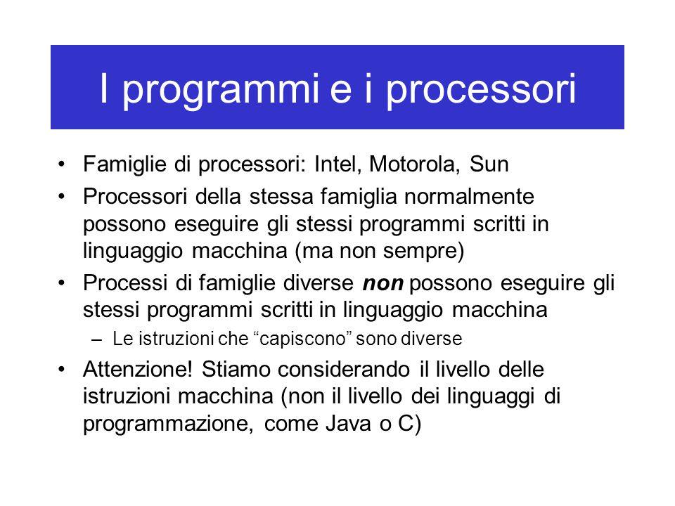 I programmi e i processori Famiglie di processori: Intel, Motorola, Sun Processori della stessa famiglia normalmente possono eseguire gli stessi progr