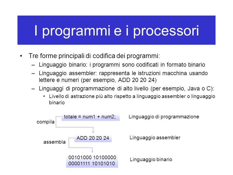 I programmi e i processori Tre forme principali di codifica dei programmi: –Linguaggio binario: i programmi sono codificati in formato binario –Lingua
