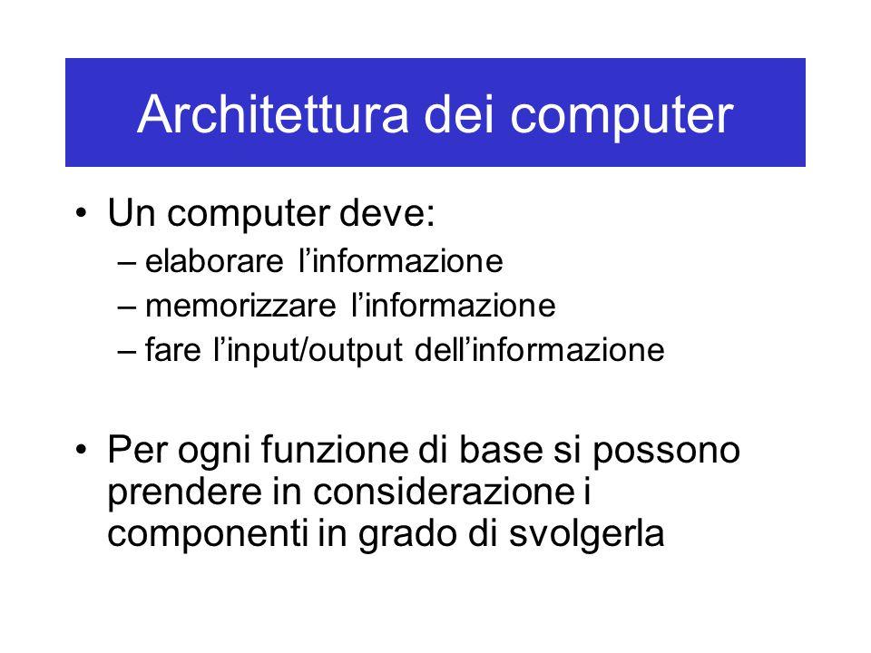 Architettura dei computer Un computer deve: –elaborare l'informazione –memorizzare l'informazione –fare l'input/output dell'informazione Per ogni funz