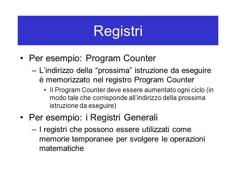 """Registri Per esempio: Program Counter –L'indirizzo della """"prossima"""" istruzione da eseguire è memorizzato nel registro Program Counter Il Program Count"""
