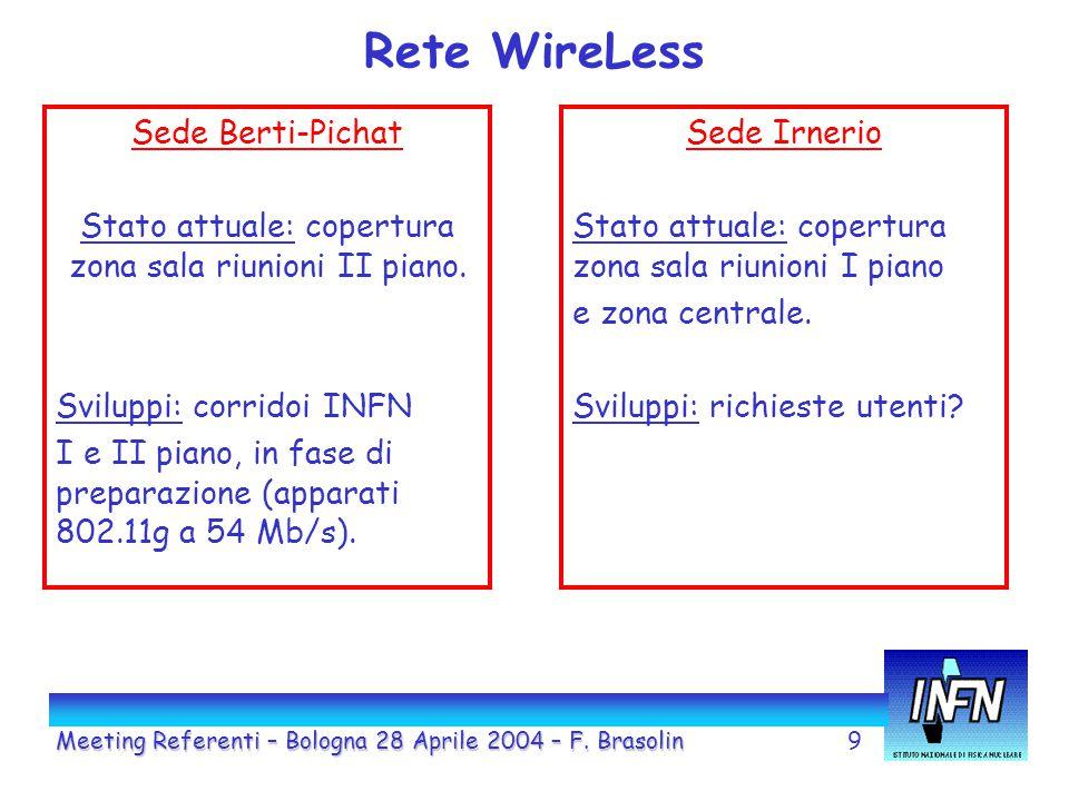 9 Rete WireLess Sede Berti-Pichat Stato attuale: copertura zona sala riunioni II piano.