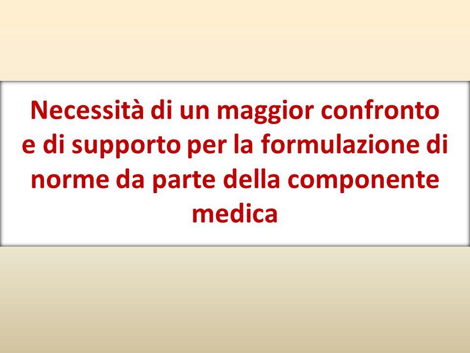 Necessità di un maggior confronto e di supporto per la formulazione di norme da parte della componente medica