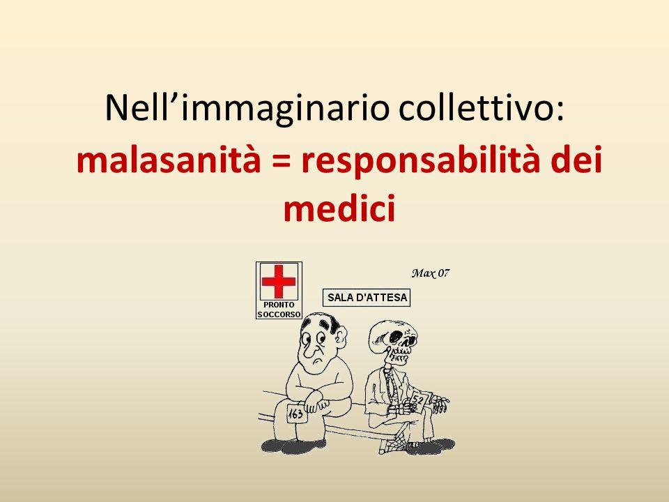 malasanità = responsabilità dei medici Nell'immaginario collettivo: