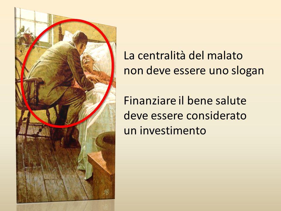 La centralità del malato non deve essere uno slogan Finanziare il bene salute deve essere considerato un investimento