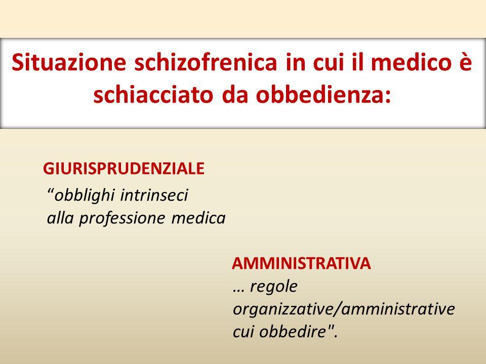Situazione schizofrenica in cui il medico è schiacciato da obbedienza: GIURISPRUDENZIALE AMMINISTRATIVA … regole organizzative/amministrative cui obbedire .