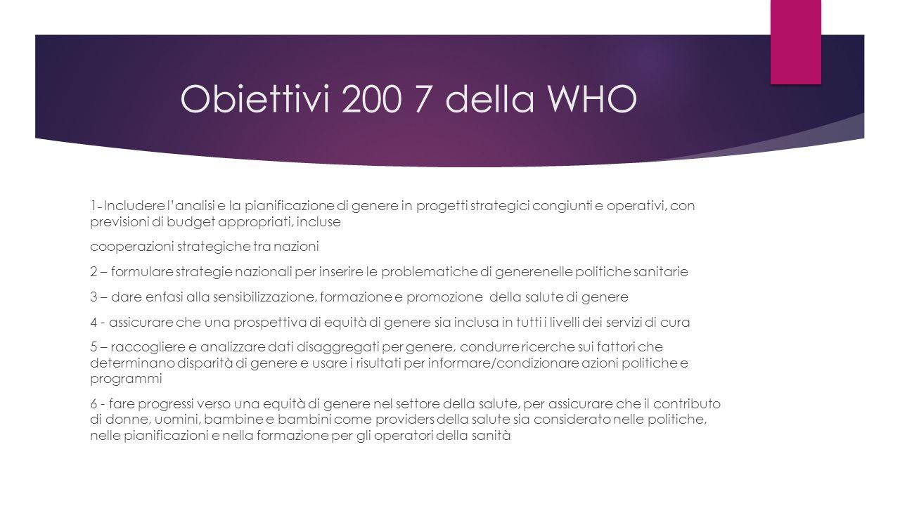 Obiettivi 200 7 della WHO 1 – Includere l'analisi e la pianificazione di genere in progetti strategici congiunti e operativi, con previsioni di budget