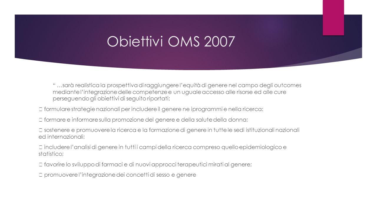 """Obiettivi OMS 2007 """" …sarà realistica la prospettiva di raggiungere l'equità di genere nel campo degli outcomes mediante l'integrazione delle competen"""
