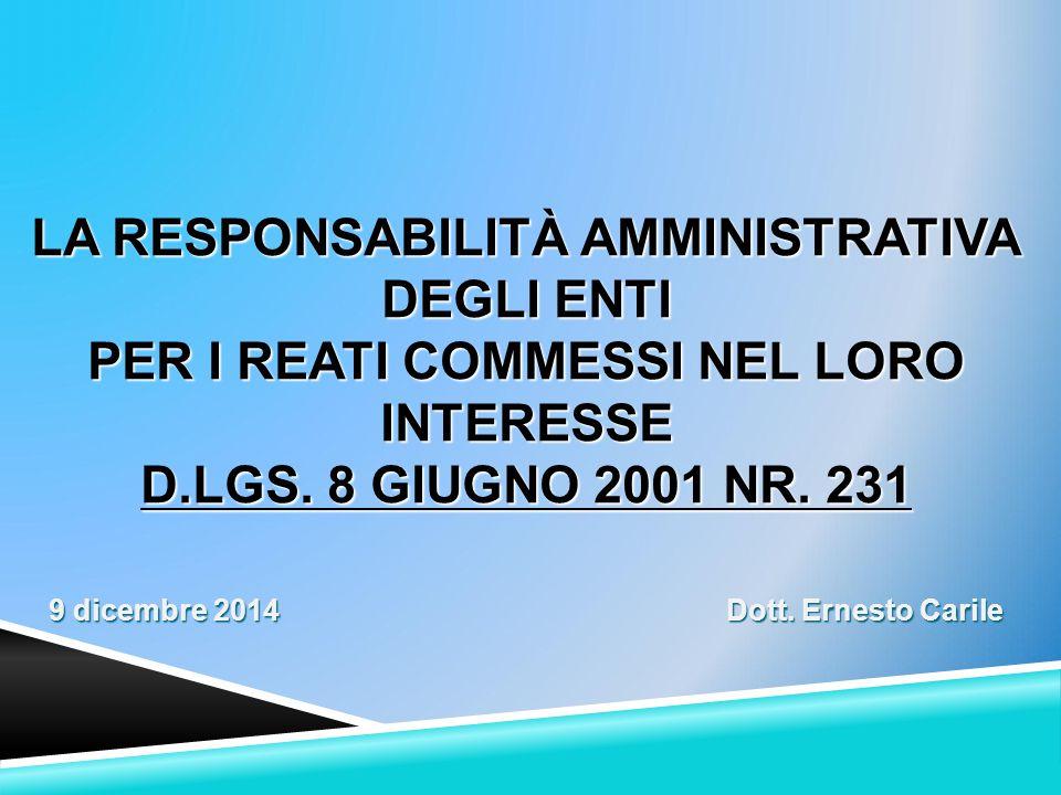 IL SISTEMA NORMATIVO DI RIFERIMENTO  Legge n. 300/2000 (art. 11)  D.Lgs. 231/2001