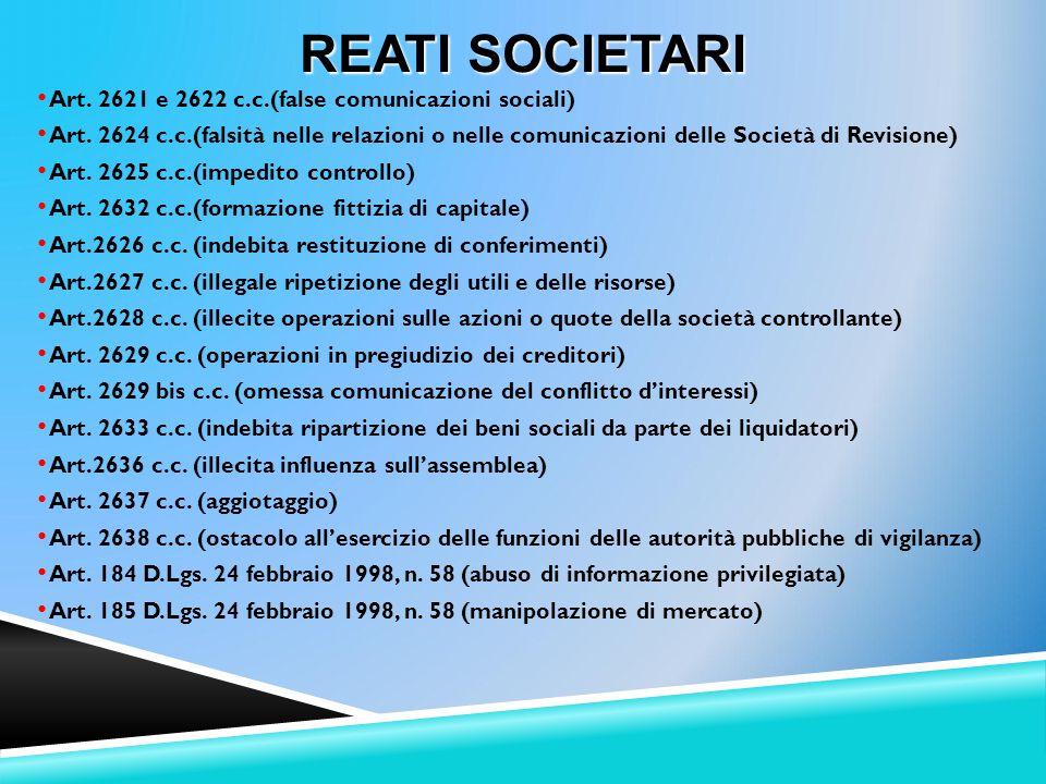 Art.2621 e 2622 c.c.(false comunicazioni sociali) Art.