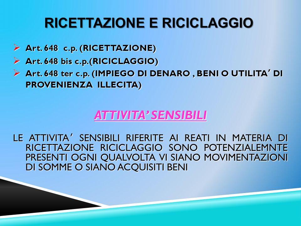  Art.648 c.p. (RICETTAZIONE)  Art. 648 bis c.p.(RICICLAGGIO)  Art.