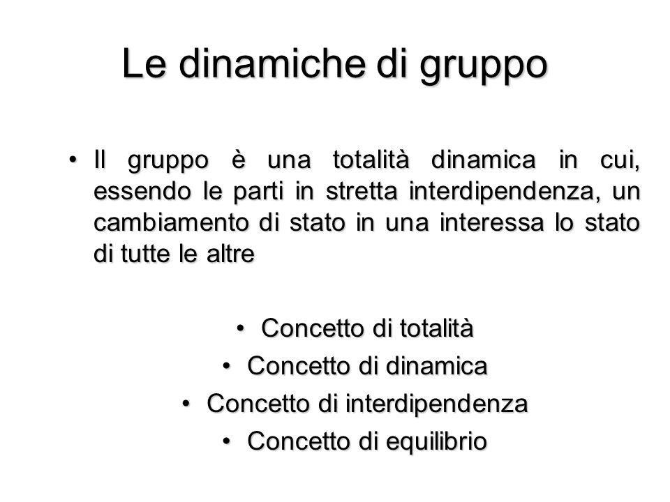 Le dinamiche di gruppo Il gruppo è una totalità dinamica in cui, essendo le parti in stretta interdipendenza, un cambiamento di stato in una interessa