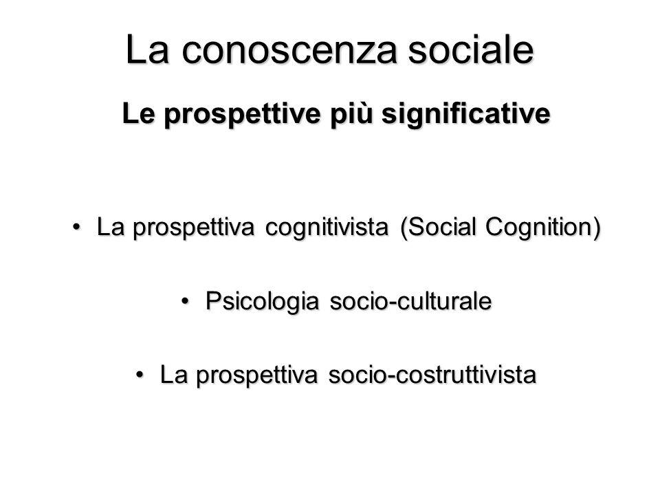 La conoscenza sociale Le prospettive più significative La prospettiva cognitivista (Social Cognition)La prospettiva cognitivista (Social Cognition) Ps