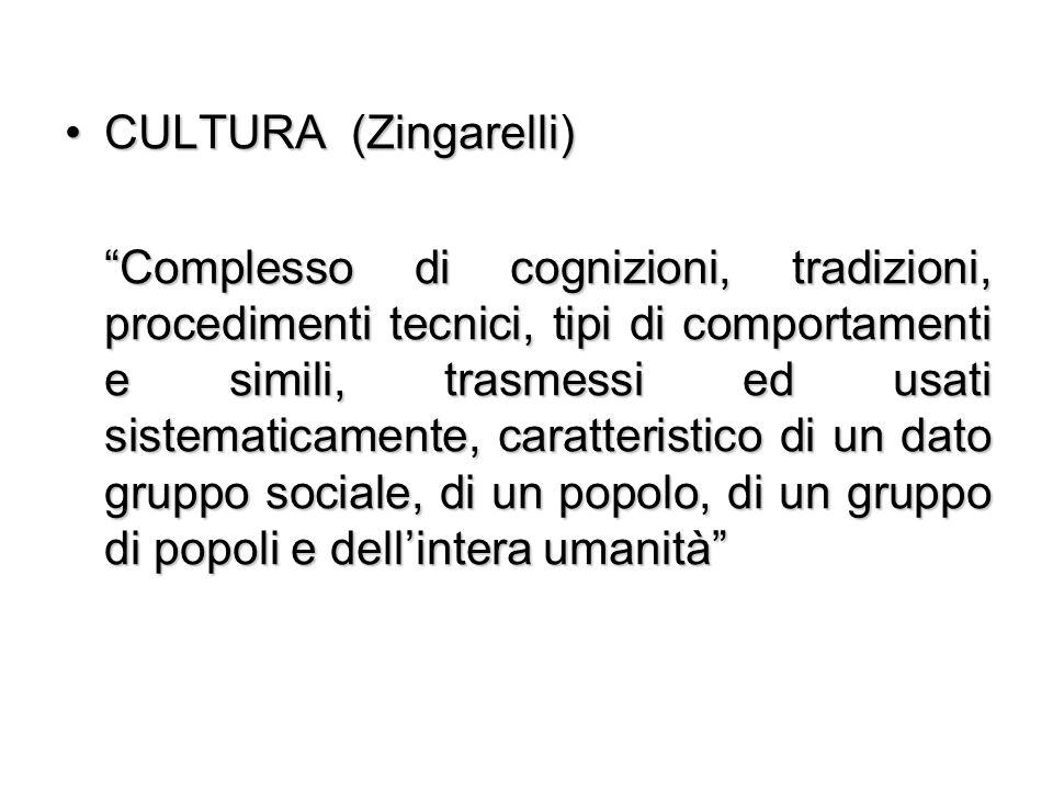 """CULTURA (Zingarelli)CULTURA (Zingarelli) """"Complesso di cognizioni, tradizioni, procedimenti tecnici, tipi di comportamenti e simili, trasmessi ed usat"""