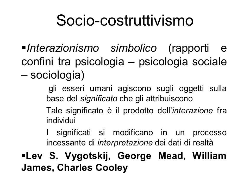 Socio-costruttivismo  Interazionismo simbolico (rapporti e confini tra psicologia – psicologia sociale – sociologia) gli esseri umani agiscono sugli
