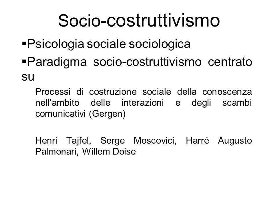 Socio- costruttivismo  Psicologia sociale sociologica  Paradigma socio-costruttivismo centrato su Processi di costruzione sociale della conoscenza n