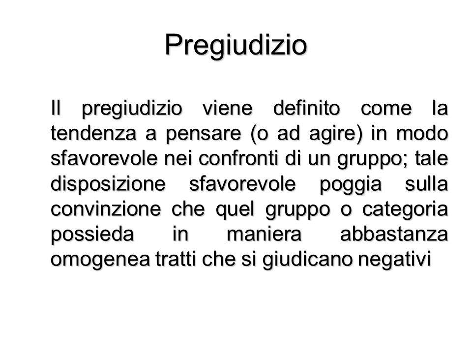 Pregiudizio Il pregiudizio viene definito come la tendenza a pensare (o ad agire) in modo sfavorevole nei confronti di un gruppo; tale disposizione sf