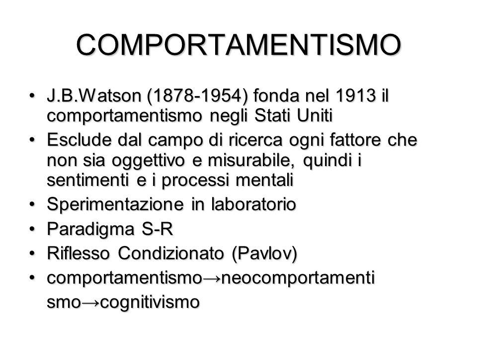 COMPORTAMENTISMO J.B.Watson (1878-1954) fonda nel 1913 il comportamentismo negli Stati UnitiJ.B.Watson (1878-1954) fonda nel 1913 il comportamentismo