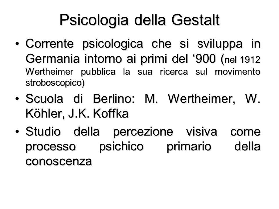 Psicologia della Gestalt Corrente psicologica che si sviluppa in Germania intorno ai primi del '900 ( nel 1912 Wertheimer pubblica la sua ricerca sul